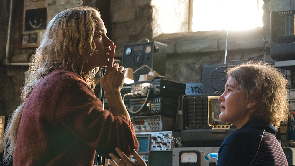 Emily Blunt is telling Millicent Simmonds to be quiet.