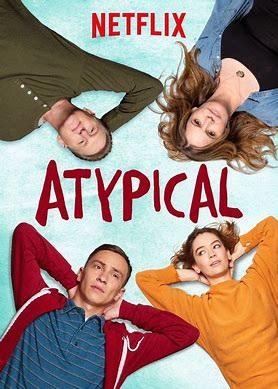 Netflix poster for Atypical. Atypical is written in all capitals in the centre, with Sam, his sister, father and mother lying down looking up.