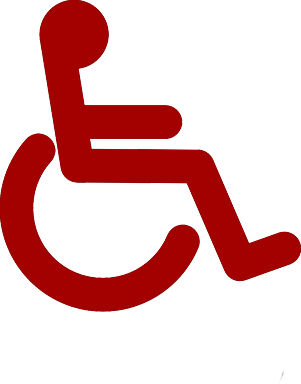This is a wheelchair symbol in a deep red.
