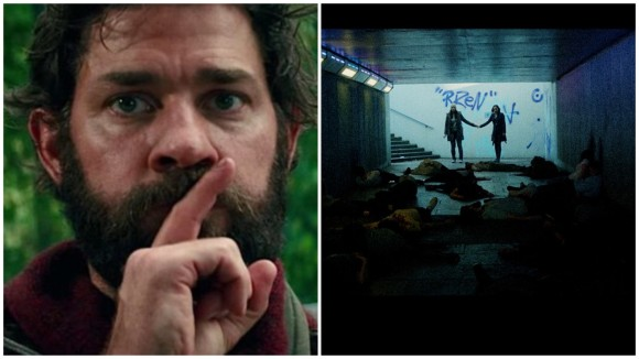 "A split collage with the words ""DOUBLE BILL"" in bold On the left, a bearded man with his finger to his mouth, gesturing a ""shush"" motion. On the right, two people are holding hands in a subway tunnel which is covered in bodies lying on the floor. The collage is split down in the middle with a white outline between the two images."